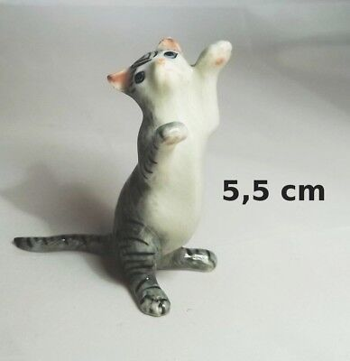 chat miniature en porcelaine,collection,animal,animaux, cat, kat, poes,gris  *S2