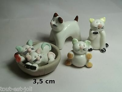 lot de 4 chats miniature de collection, cat, poes,chat,matou rigolo   *A03