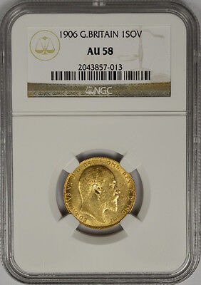 1906 Great Britain Gold Sovereign, NGC AU 58. King Edward VII