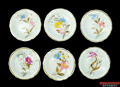 Set Of 6 Small Round Butter Pats Shallow Dishes Gold Gilded Handpainted Flowers