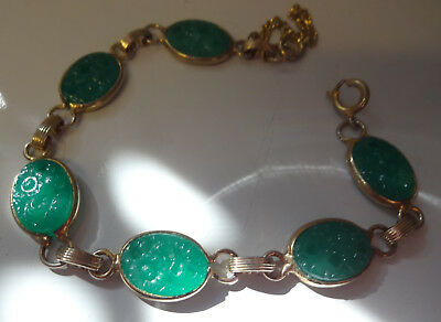 Vintage Chinese Green Carved Peking Glass Bracelet