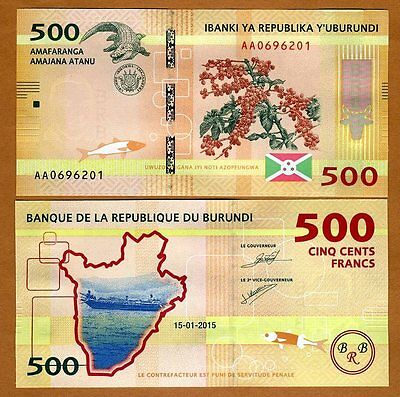 Burundi, 500 Francs, 2015, P-New, UNC > New Design > Crocodile