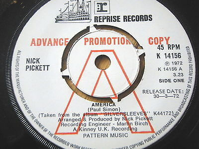 "Nick Pickett - America  7"" Vinyl Promo"