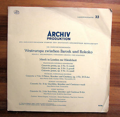 ARCHIV 14196 Music In London At The Time Of Handel 1961 NM/EX Gatefold