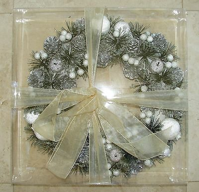 New Christmas, Holiday Silver+White Fruit+Pine Decorative Wreath,garland