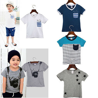 2015 Fashion Boy Shirt Cotton Short Sleeve Tops Kids Summer T Shirt Tees Clothes