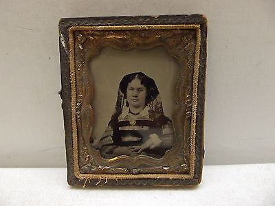 Antique Daguerreotype Photograph Photo Of Lady Woman Gold Brooch & Ring