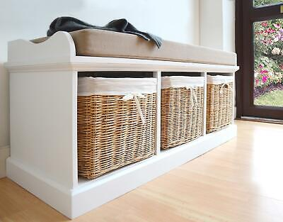 Tetbury White Bench with Cushion and Storage baskets. ASSEMBLED Storage bench