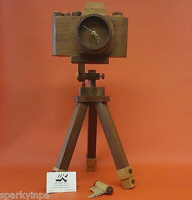 Handmade Natural Wood Carved Camera Clock Art Carving Home Decor Stand