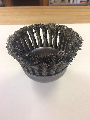 "Advance 37428  4"" End Knot Wheel Cup Brush, .020"" Wire, 5/8-11 Arbor Hole"