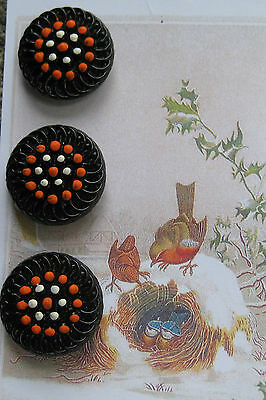 "Set of 3 Vintage 7/8"" Black Orange Glass Buttons~1920's~new/old stock halloween"