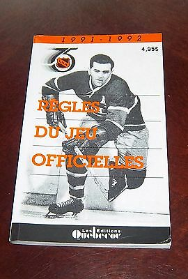 Official NHL Hockey Rules Book 1991-92 Maurice Richard  French Edition