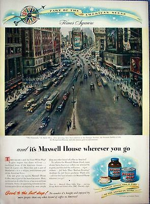 1946 Maxwell House Coffee Times Square New York The Crossroads Alfred Mira ad