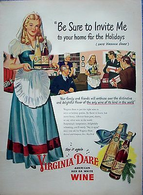1946 Virginia Dare Wine Colonial Dress Invite Me Home For The Holidays ad