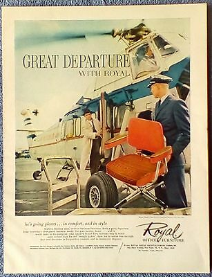 1960 Royal Office Furniture Great Departure Park Ave Chair Helicopter Loading ad