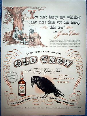1948 Old Crow Whiskey James Crow Friend Sitting Under Tree You Cant Hurry ad