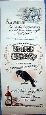 1946 Old Crow Whiskey Not Gold Limestone Spring James Crow Horse ad