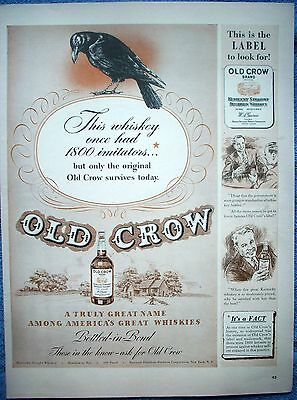 1942 Old Crow Whiskey Look For This Label Only The Original Survives ad