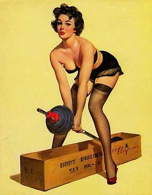 RETRO PINUP GIRL QUALITY CANVAS PRINT Poster Gil Elvgren Gym Weights fail 12x8""