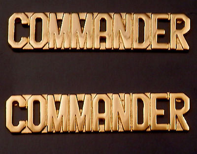 "COMMANDER  gold 3/8"" Letters Collar Pins Rank Insignia police/fire/sheriff"