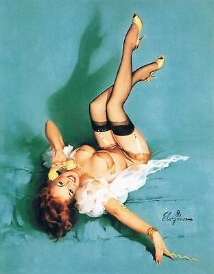 Vintage GIL ELVGREN Pinup Girl QUALITY CANVAS PRINT Poster ~ Green Phone ~ 12x8""