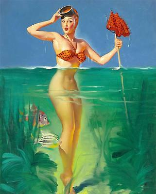 Vintage GIL ELVGREN Pinup Girl QUALITY CANVAS PRINT Poster Sexy Bather ~ 12x8""