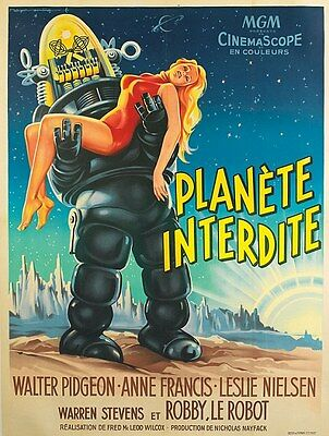 "VINTAGE Scifi movie poster CANVAS ART PRINT  16""X 12"" Planet Interdite"