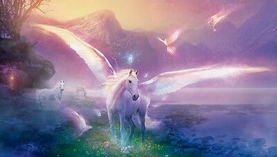 "UNICORN PEGASUS MOUNTAINS CANVAS ART PRINT poster 16""X 12"""