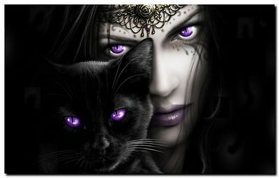 GOTHIC ANGEL & BLACK CAT- QUALITY CANVAS ART PRINT- Poster A4