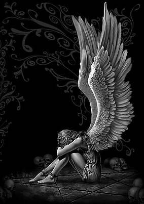 GOTHIC ANGEL WINGS- QUALITY CANVAS ART PRINT- Poster A4