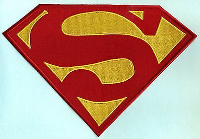 "7.5"" x 11.2"" Embroidered Dean Cain style Superman Red & Yellow Chest Logo Patch"