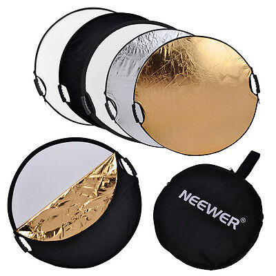 """Neewer 5-in-1 Circular 24"""" Flash Reflector Gold Silver White Black Translucent"""