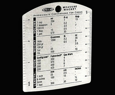 Stellar Measure Magnet Cooks Quick Reference Spoons/Cups/Metric/Imperial