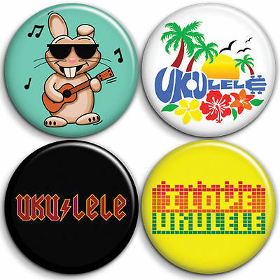 A - Ukulele 4 x Button Badge / Pinback - 25mm 1 inch - Parody Style