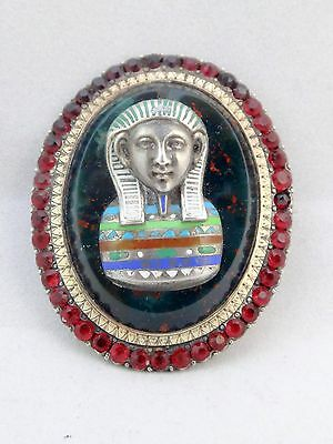 Antique French Sterling Silver Enamel & Garnet Egyptian Revival Large Brooch