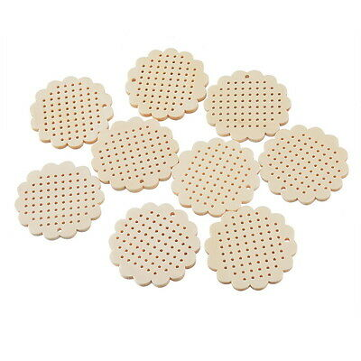 50PCs Wooden Charms Pendants Flower Shaped DIY Sewing Pale Yellow