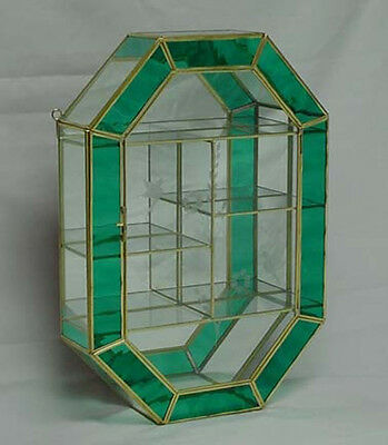 Vintage GREEN Stained Glass Brass CURIO BOX CABINET for small figurines DISPLAY