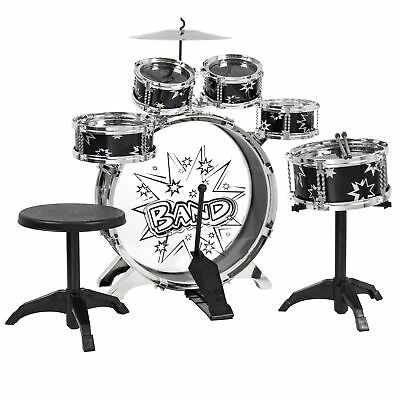 BCP Kids Toy Musical Instrument 11 Piece Kids Drum Set W/ Stool, Drumsticks