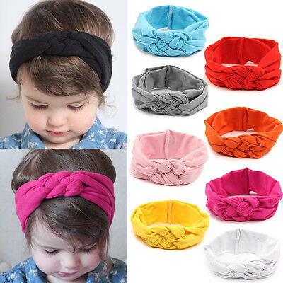 Girls Kids Baby Elastic Cotton Bow Hairband Headband Sweet Turban Knot Head Wrap