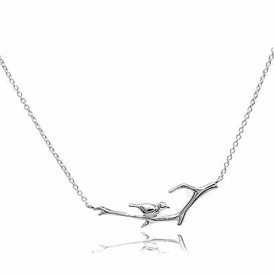 "Sterling Silver Bird on Branch 16 "" Inch Trace Chain Necklace Inches Birds Tree"