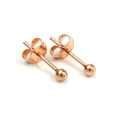 18ct Rose Gold Dipped Sterling Silver 2mm Ball Stud Earrings Studs
