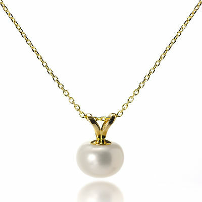 9ct Gold Set 7mm White Freshwater Pearl Pendant on Belcher Chain Necklace Pearls