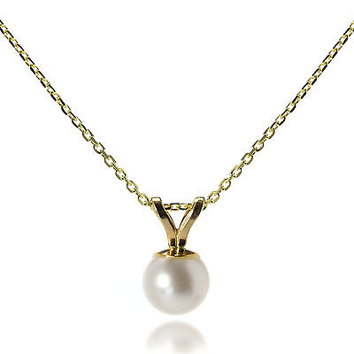 9ct Gold Set 5mm Pearl Pendant on Chain Necklace Pearls Belcher Chains