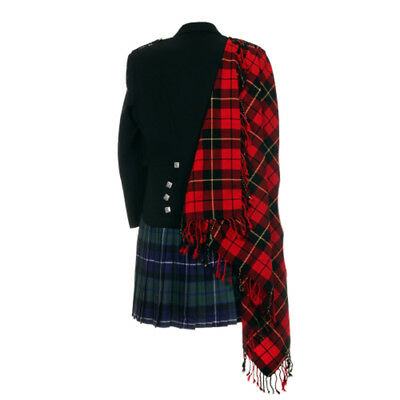 New Wallace Tartan Scottish Purled Fringe Budget Fly Plaid for Traditional Kilts