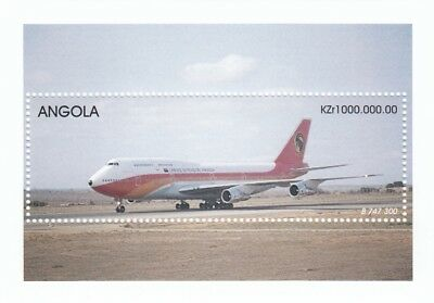(07571) Angola Avion Mini feuille Boeing 747 300 plat MNH U/M Mint