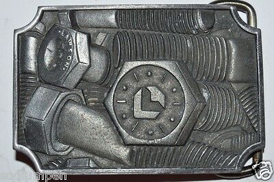 WOW Vintage 1978 LAWSON PRODUCTS Nuts & Bolts Solid Pewter Belt Buckle RARE