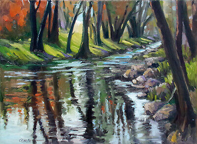 Christine Smith Creek Hand Signed Original Acrylic Painting on Stretched Canvas