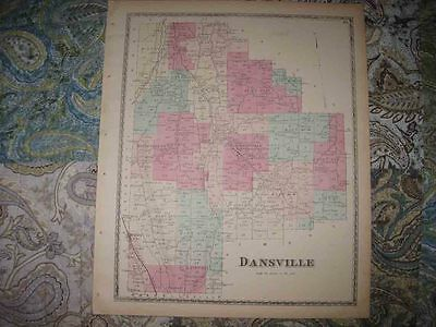 Antique 1873 Dansville Burns Rogersville Steuben County New York Handcolored Map