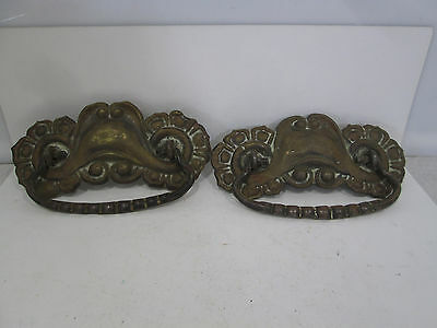 2 Antique Large Pressed Brass Drawer Pulls #294