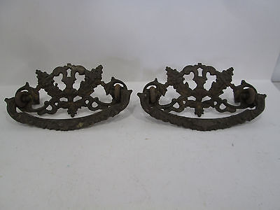 2 Vintage Brass Victorian Style Drawer Pulls - Lilac Design #287